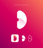 Abstrakt för origamistil för bokstav D mall för logo Applikationsymbol Arkivfoton