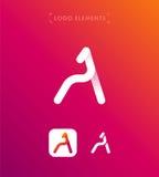 Abstrakt för origamistil för bokstav A mall för logo Arkivfoton