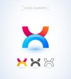 Abstrakt för origamistil för bokstav X mall för logo Applikationsymbol Arkivfoton