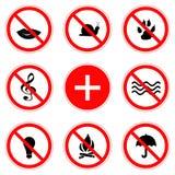 abstrakt förbjuda set tecken Fotografering för Bildbyråer