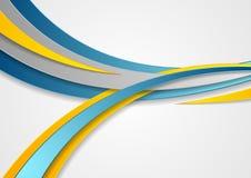 Abstrakt företags vågbakgrund för blått och för guling Royaltyfri Fotografi
