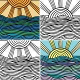 Abstrakt fala i słońca tło ilustracji