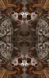 Abstrakt fantastisk affisch eller bakgrund Futuristisk sikt från inre av fractalen Arkitektonisk modell 3d vektor illustrationer