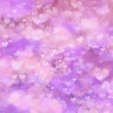 Abstrakt festlig bakgrund med rosa hjärta Fotografering för Bildbyråer