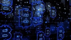 Abstrakt finans- och teknologibakgrund - blåttcirklar, fyrkanter och bitcointecken stock illustrationer