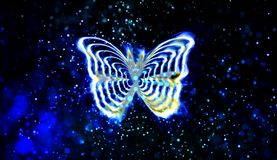 Abstrakt fjäril i en blå bakgrund royaltyfri illustrationer