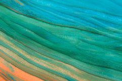 Abstrakt flödesgouachemålning, detalj arkivfoton