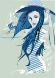 abstrakt flickahatt Stock Illustrationer