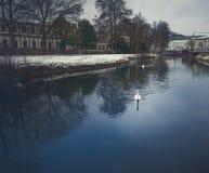 Abstrakt flodsikt i en snöig stad Royaltyfria Foton
