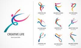 Abstrakt folk Logo Design Idrottshall kondition, färgrik logo för rinnande instruktörvektor Aktiv kondition, sport, dansrengöring royaltyfri illustrationer