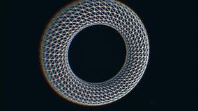 Abstrakt form, vit beståndsdel i wireframehologramstil som roterar på svart bakgrund med små vita prickar stock illustrationer