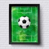 Abstrakt fotbollaffisch Avbilda ramen på den vita tegelstenväggen med foo Fotografering för Bildbyråer