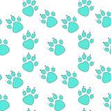 Abstrakt fotspår för blå katt i turkosöversikt på vit bakgrund royaltyfri illustrationer