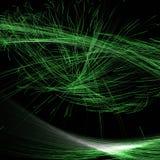Abstrakt Fractalbelysning genom att använda gröna färgade linjer och kurvor vektor illustrationer