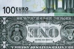 Abstrakt fragment sedeln av 1 dollar och 100 euro Royaltyfri Fotografi
