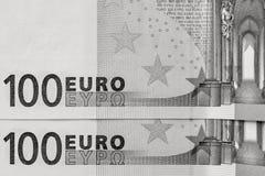 Abstrakt fragment sedeln av 100 euro Arkivfoto