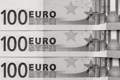 Abstrakt fragment sedeln av 100 euro Royaltyfria Bilder