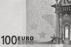 Abstrakt fragment sedeln av 100 euro Fotografering för Bildbyråer