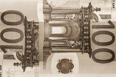 Abstrakt fragment sedeln av 100 euro Royaltyfri Fotografi