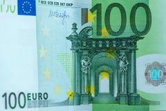 Abstrakt fragment sedeln av 100 euro Arkivbilder