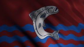Abstrakt framkallande tyg av flaggan djur Bild av den stora gr?a fisken ?ver bl?a v?gor p? r?d bakgrund av framkallning vektor illustrationer