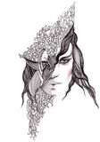 abstrakt framsidakvinna stock illustrationer