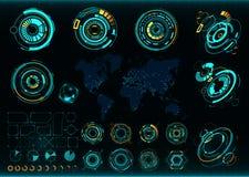 Abstrakt framtid futuristisk manöverenhet för vektor Kommunikationsöversikt av världen Royaltyfri Foto