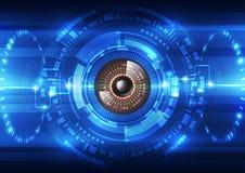 Abstrakt framtida bakgrund för teknologisäkerhetssystem, vektorillustration Arkivbild