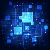 Abstrakt framtida kommunikationsteknologi, illustrationbakgrund Arkivbild