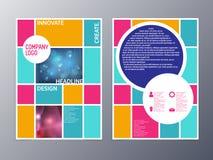Abstrakt färgrik vektor a4 för reklambladdesignmall Royaltyfri Foto