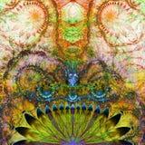 Abstrakt främmande exotisk blommabakgrund med den dekorativa glänsande livliga tentaklet gillar blommamodellen Arkivbild