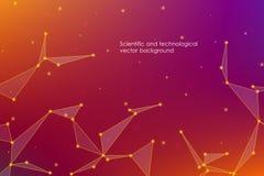 Abstrakt futuristisk bakgrund med prickar och linjer, molekylära partiklar och atomer, polygonal linjär digital textur som är tek Royaltyfri Fotografi