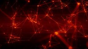 Abstrakt futuristisk illustration 3D av brännhet röd yttersida med förbindande prickar vektor illustrationer