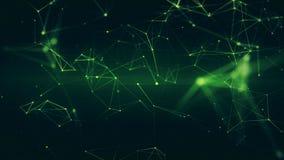 Abstrakt futuristisk illustration 3D av grön yttersida med förbindande prickar stock illustrationer
