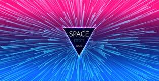 Abstrakt futuristisk ljus bakgrund för perspektiv och för rörelse Stjärnan snedvrider i Hyperspace Utrymmehopp stock illustrationer