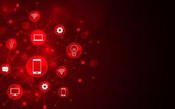 Abstrakt futuristisk symbol och linje anslutning på röd bakgrund stock illustrationer