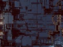 Abstrakt futuristisk technomodell Digital 3d illustration royaltyfri illustrationer