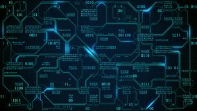 Abstrakt futuristiskt bräde för elektronisk strömkrets med binär kod, nerv- nätverk och stora data - en beståndsdel av konstgjord stock illustrationer