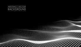 Abstrakt futuristiskt digitalt landskap för vektor med partikelprickar och stjärnor på horisont Konstgjord intelligens neon stock illustrationer