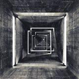 Abstrakt fyrkantig inre för mörkerbetongtunnel vektor illustrationer