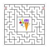 Abstrakt fyrkantig labyrint med ett gulligt färgtecknad filmtecken kräm- rolig is En intressant och användbar lek för barn enkelt stock illustrationer