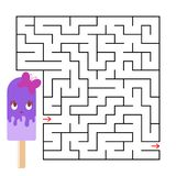 Abstrakt fyrkantig labyrint med ett gulligt färgtecknad filmtecken kräm- rolig is En intressant och användbar lek för barn enkelt vektor illustrationer