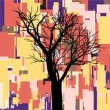 Abstrakt fyrkantig nedgångsammansättning med trädet, geometriska former, tema för höstsidor, händelser annonsering, säsongsbetona Royaltyfri Bild