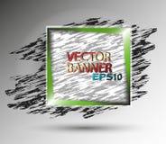 Abstrakt fyrkantigt vektorbaner med den gröna ramen Arkivbild