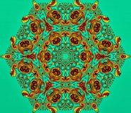 Abstrakt geometri av modern konst Mystisk östlig mandala traditionell design för blom- kalejdoskop Psykedelisk symmetrisk backgro royaltyfria bilder