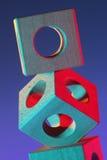 Abstrakt geometri med träkuber Fotografering för Bildbyråer