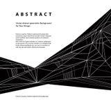 Abstrakt geometrisk bakgrund för vektor, technostilsvart och whi Royaltyfria Bilder