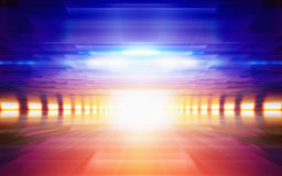 Abstrakt geometrisk bakgrund, ljust glödande orange ljus, blått Arkivbilder