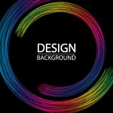 Abstrakt geometrisk bakgrund med dynamiska regnbågecirklar Idérik linje konst stock illustrationer