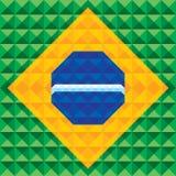 Abstrakt geometrisk bakgrund - sömlös vektormodell - illustrationbegrepp på grund av den Brasilien flaggan Royaltyfria Bilder